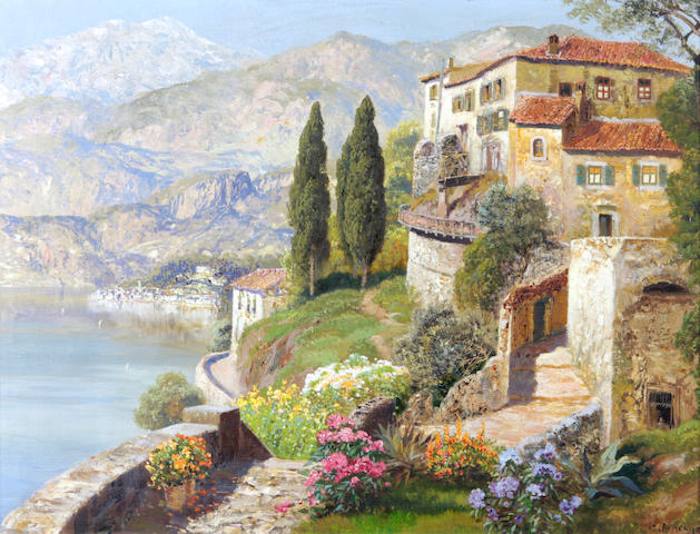 Gottfried Arnegger (Austrian, born 1905) A villa on a sunlit bay 23 x 30in