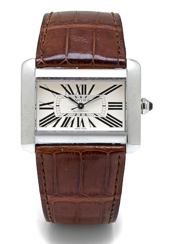 Cartier. A stainless steel automatic wristwatch with center secondsDivan no. 103343CE / 2612