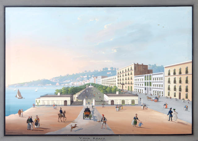 Neapolitan School, 19th Century Views of Isola d'Ischia; Napoli dalla Villa Callao a Capodimonte; Villa Reale; Vesuvius (a group of four) each 19 3/8 x 27 3/8in