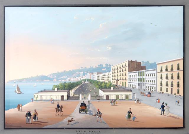 Neapolitan School, 19th Century Views of Isola d'Ischia; Napoli dalla Villa Callao a Capodimonte; Villa Reale; Vesuvius (a group of four) each 19 3/8 x 27 3/8in