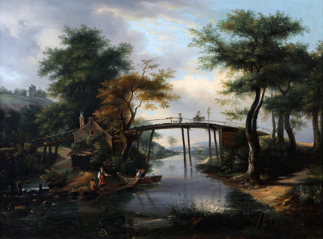Dutch School, (late 18th Century)  A river scene with figures crossing a wooden bridge and fishermen on the bank 21 1/2 x 29 1/4in