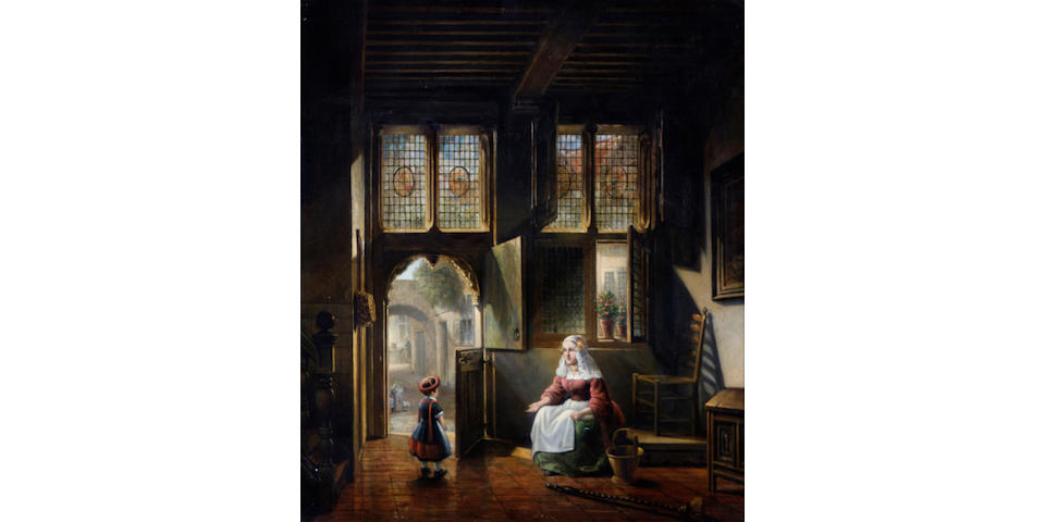 Dutch School, 19th Century A mother and child in a church interior  29 3/4 x 25 3/4in