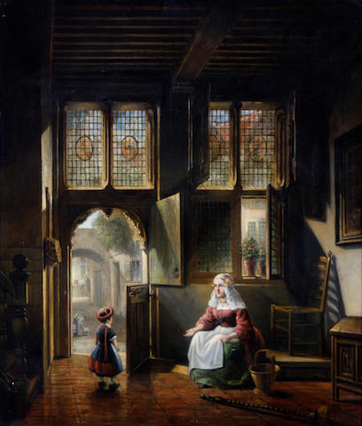 (n/a) Dutch School, 19th Century A mother and child in a church interior 29 3/4 x 25 3/4in