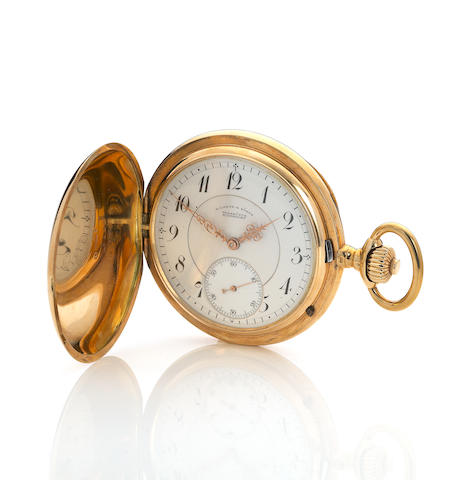A. Lange & Söhne. An 18K gold hunter cased watch keyless lever watchNo. 46003. circa 1900.