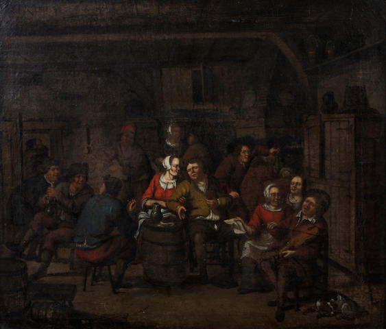 Follower of Adriaen Jansz. van Ostade (Dutch, 1610-1685) Peasants carousing in a tavern 22 x 25 1/2in