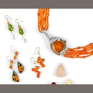 Orange Opal and Carnelian Necklace together with 3 Pairs of Earrings
