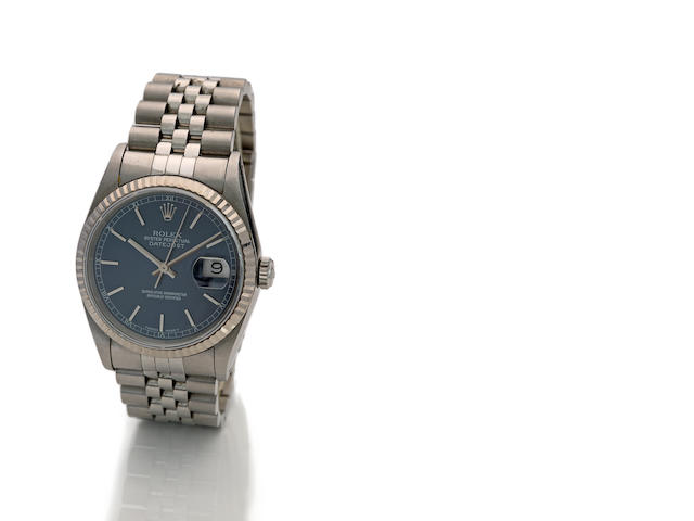 Rolex. A fine stainless steel automatic center seconds calendar bracelet watchOyster Perpetual Datejust, Ref. 16234, case no. X431161, movement no. 6284766, sold in 1993
