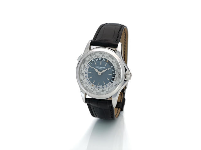 Patek Philippe. A platinum automatic world time wristwatch Ref. 5110P, case no. 4284692, movement no. 3212771, sold in 2005