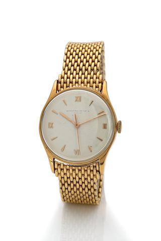 Vacheron & Constantin. An 18K rose gold center seconds wristwatch and a 14K  yellow gold bracelet Case no. 302382, movement no. 459582, 1940's