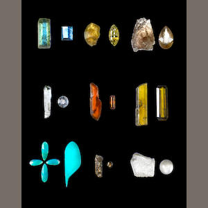 Rough and Cut Collection of Nine Minerals