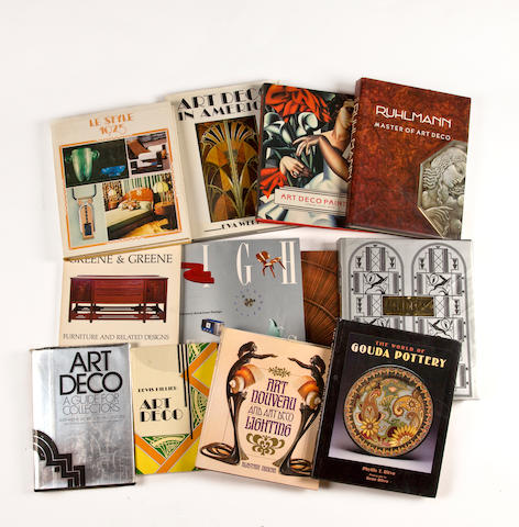 A large group of books on 20th Century Decorative Arts