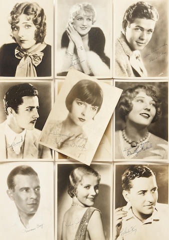 A movie star group of facsimile signed sepia photographs, 1920s