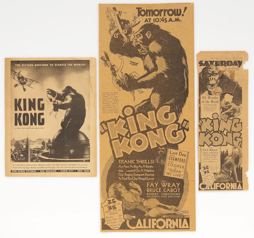 "A group of vintage newspaper advertisements and stills from ""King Kong"""