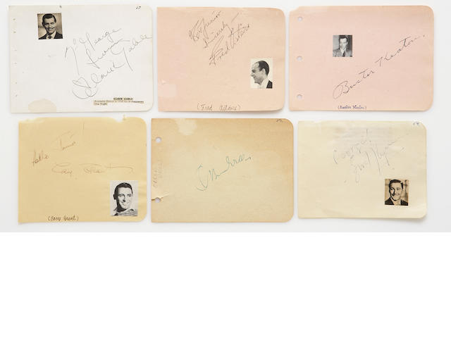 A large group of A-list male movie star signatures, 1930s-1950s