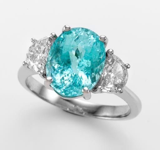 """""""Paraiba"""" Tourmaline and Diamond Ring"""
