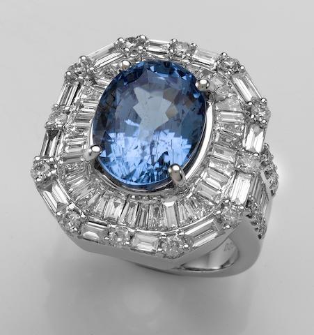 Rare Lavender-Blue Tourmaline Ring