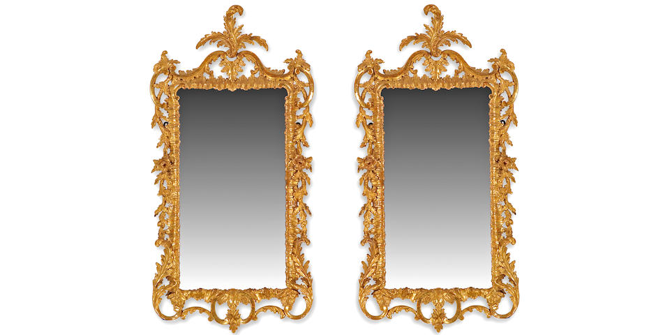 A fine pair of George III giltwood mirrors  third quarter 18th century
