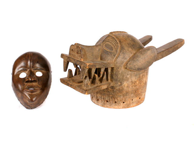 A Senufo mask and a Dan mask
