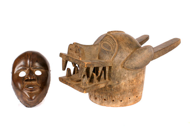 A Senufo mask and a Dan mask