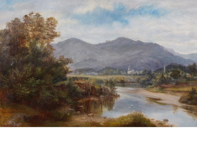 F.P. Weir (19th Century) A river near Worcester 20 x 30in