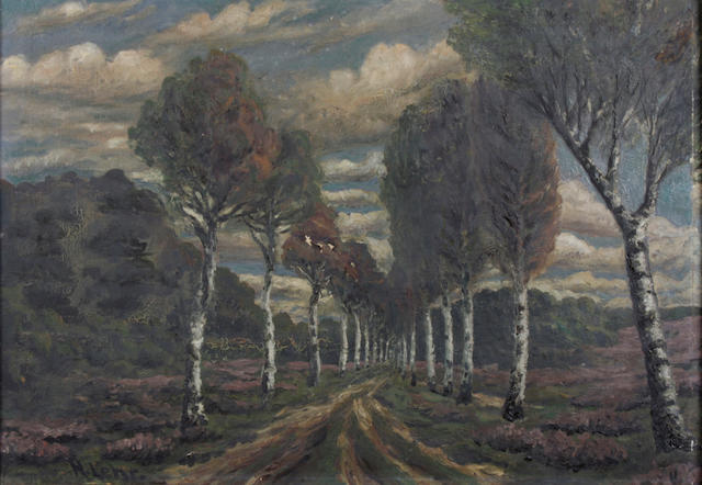 N. Lehr (20th Century) A tree lined country path 18 1/2 x 25 3/4in