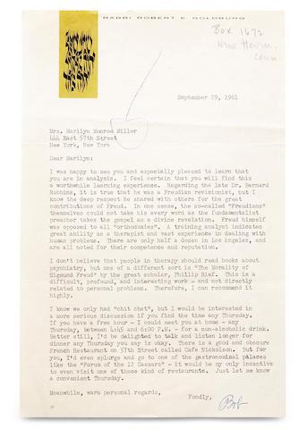 A Marilyn Monroe-received letter from Rabbi Robert E. Goldburg, 1961