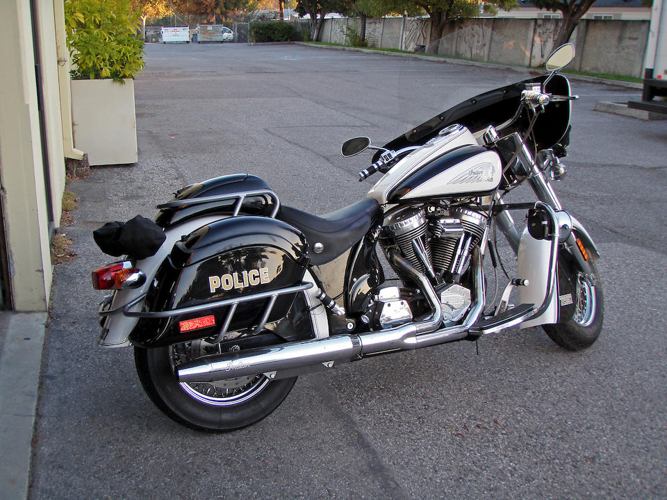 Ex-Arnold Schwarzenager, From the movie Terminator 3: Rise of the Machines,2002 Indian 100ci 'Police' Chief Frame no. 5CDNNCAJ82G005918 Engine no. BMW50201