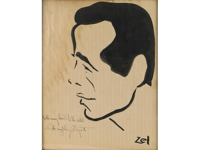 A Humphrey Bogart signed caricature from The Brown Derby, 1940s