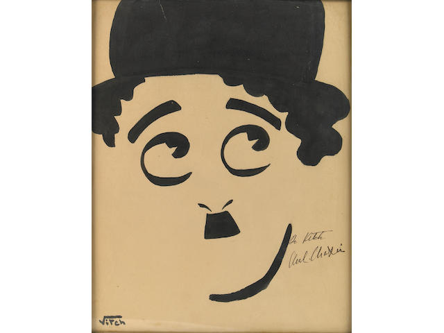 A Charlie Chaplin signed caricature from The Brown Derby, 1930s