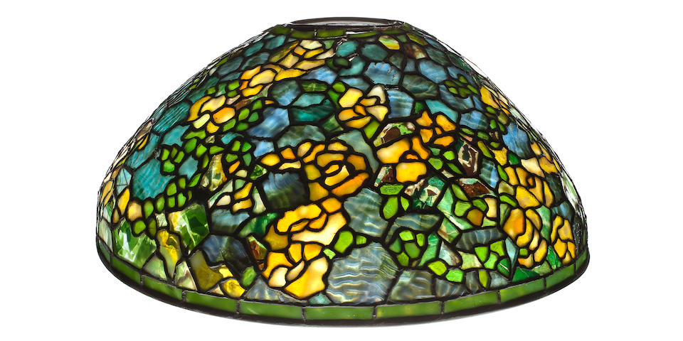 A Tiffany Studios leaded glass and bronze Rambling Rose lamp shade 1899-1918