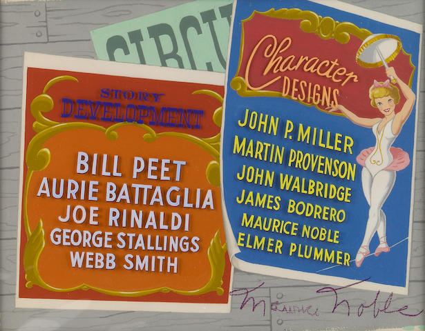 "A Walt Disney credit celluloid from ""Dumbo"""