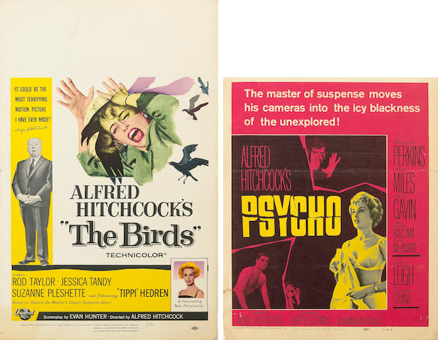 Three Alfred Hitchcock window cards, 1960s
