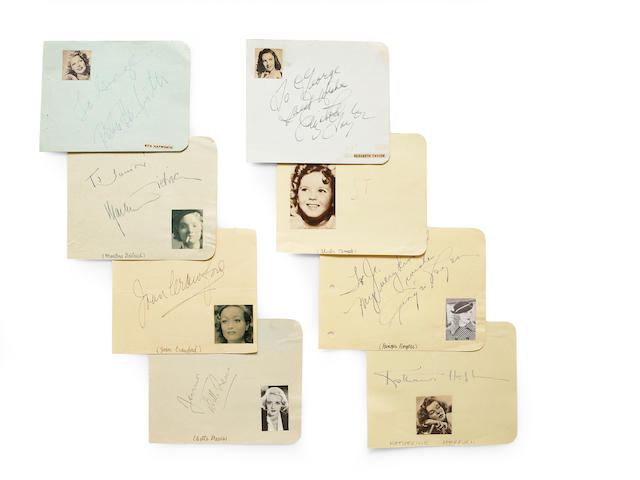 A large group of A-list female movie star signatures, 1930s-1940s