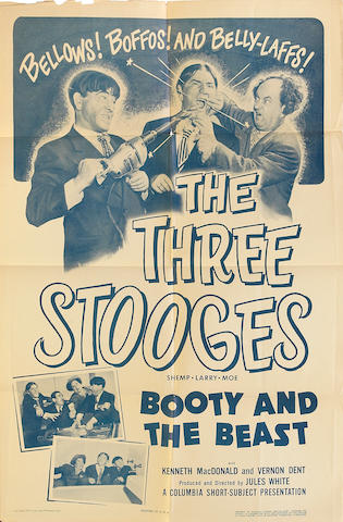 A Three Stooges huge group of folded one-sheet film posters, 1950s-1960s