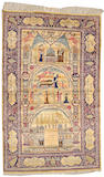 A Kashan silk rug South Central Persia size approximately 4ft. 8in. x 7ft. 6in.
