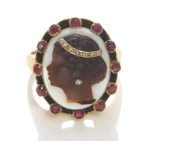 A hardstone blackamoor cameo habillé, ruby and diamond ring,