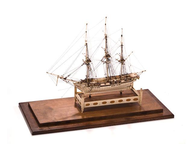 A late 18th century Napoleonic Prisoner of War ship model of an 18-gun sloop of war