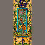 A good Tiffany Studios Favrile jeweled leaded glass window circa 1895-1900