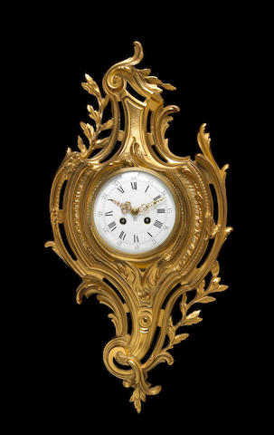 A Louis XV style gilt bronze cartel clock <br>late 19th/early 20th century