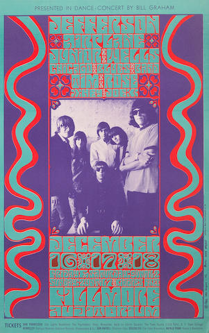 A group of acid rock concert posters, 1960s