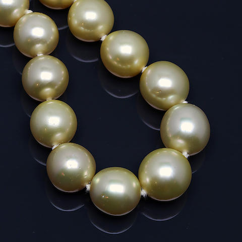A golden-cultured pearl necklace