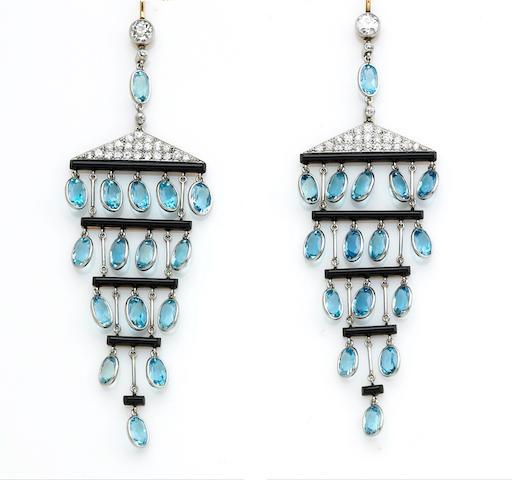 A pair of aquamarine, diamond and black onyx chandelier earrings