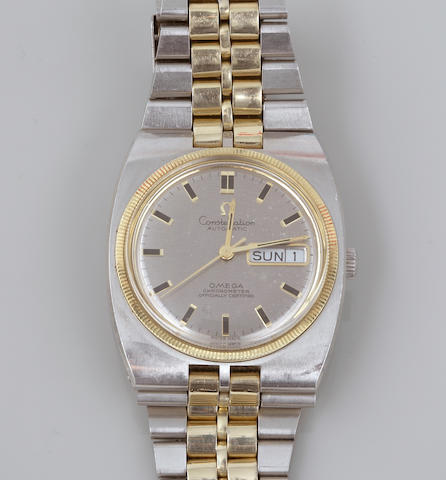 A self winding Omega Constellation with two-tone steel bracelet comes with winder;