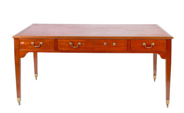 An English mahogany partner's desk