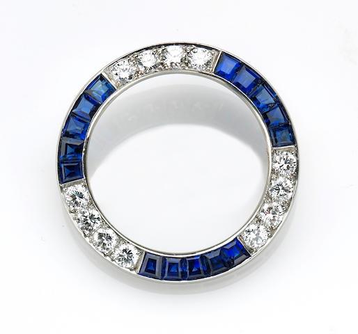 A diamond and sapphire circle brooch, Tiffany & Co.