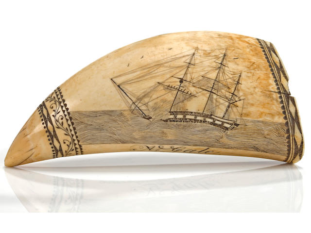 A Scrimshaw Whale's Tooth depicting the battle between the Shannon & Chesapeake attributed to Edward Burdett (American, 1805-1833) circa 1930