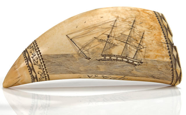 A scrimshaw whale's tooth depicting the battle between the H.M.S. SHANNON & U.S.S. CHESAPEAKE circle of Edward Burdett (American, 1805-1833) circa 30