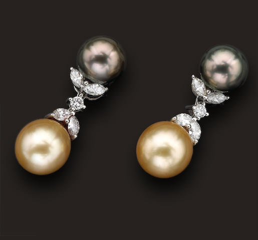 A pair of colored South Sea cultured pearl and diamond earrings
