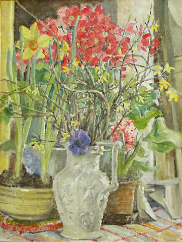 J.E. (?), Still life flowers in pitcher, o/c
