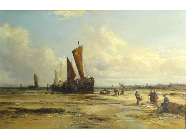 William Edward Webb (British, 1862-1903) Beach scene with boats and figures in the foreground 20 x 30in